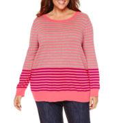 Liz Claiborne® Long-Sleeve Sweater - Plus