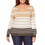 Liz Claiborne® Long-Sleeve Sweater - Plus