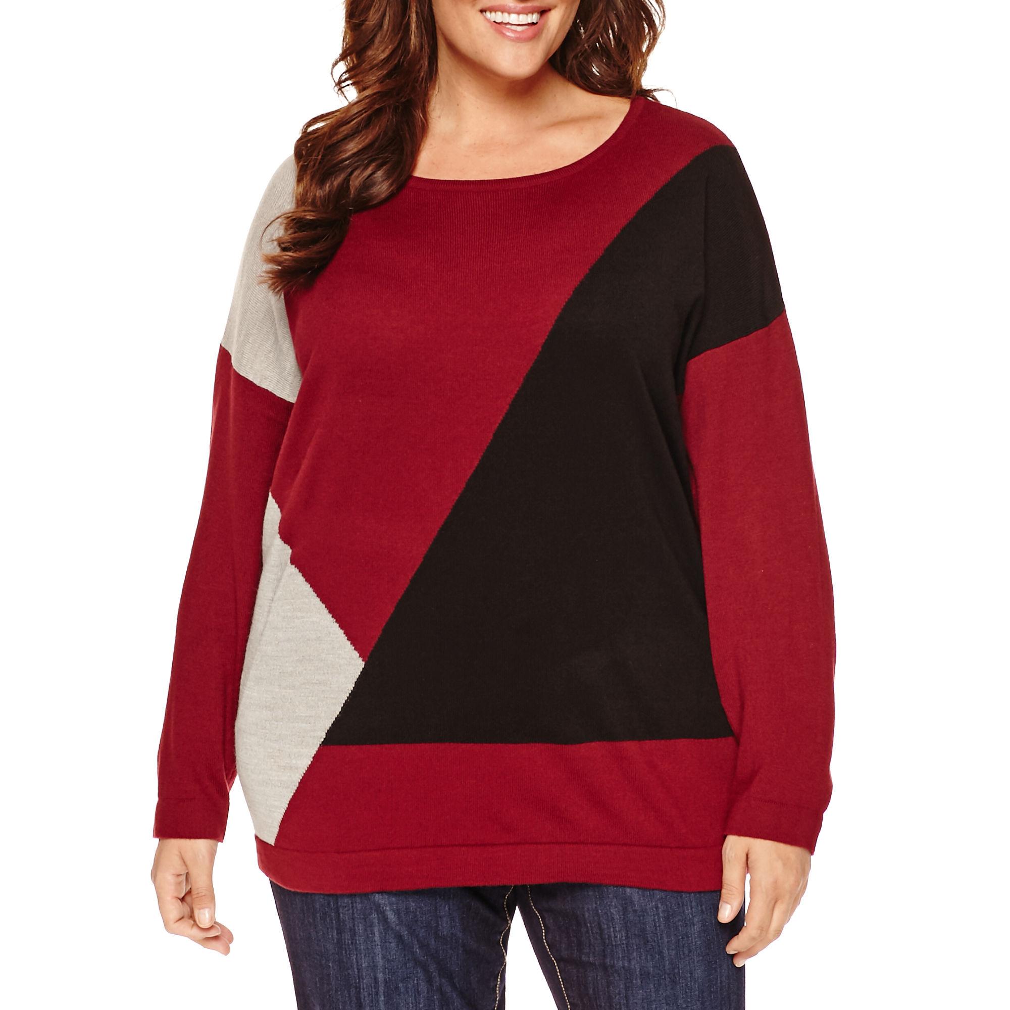 Liz Claiborne Long Sleeve Crew Neck Pullover Sweater-Plus