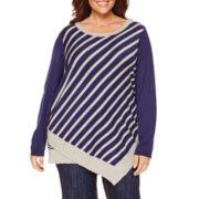 Liz Claiborne Long Sleeve Crew Neck Knit Pullover Sweater-Plus
