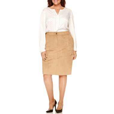 jcpenney.com | Liz Claiborne® Long Sleeve Split Neck Popover, Sueded Pencil Skirt Plus