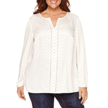jcpenney.com | Liz Claiborne® Long-Sleeve Splitneck Popover Blouse - Plus