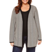 Liz Claiborne Long Sleeve Cardigan Plus