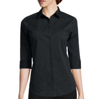 jcpenney.com | Worthington® 3/4-Sleeve Button-Front Shirt