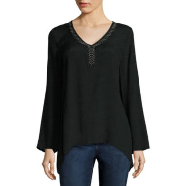 jcpenney.com | St. John's Bay® Beaded-Trim Sharkbite Blouse - Tall