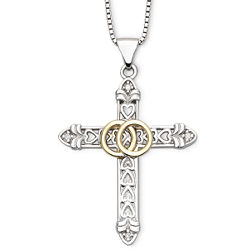 Precious Moments® Two-Tone Wedding Band Cross Pendant