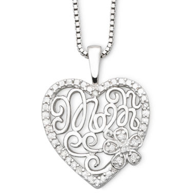 "jcpenney.com | Precious Moments® ""Mom"" Sterling Silver Heart Pendant Necklace"