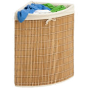 Honey-Can-Do® Bamboo Wicker Corner Hamper