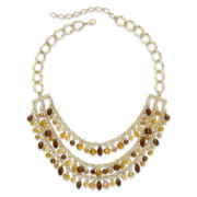 Gold-Tone & Brown Bead Shaky Bead 3-Row Bib Necklace