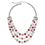 Red, Hematite & Clear Bead 3-Row Bib Necklace