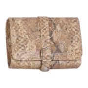 Mele & Co. Tan Faux Snakeskin Travel Jewelry Wallet