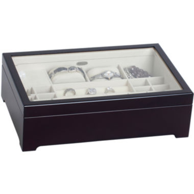 jcpenney.com | Mele & Co. Womens Java-Finish Glass-Top Musical Jewelry Box