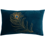 Peacock Feather Oblong Decorative Pillow