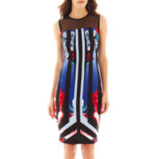 Bisou Bisou® Sleeveless Illusion-Top Print Dress