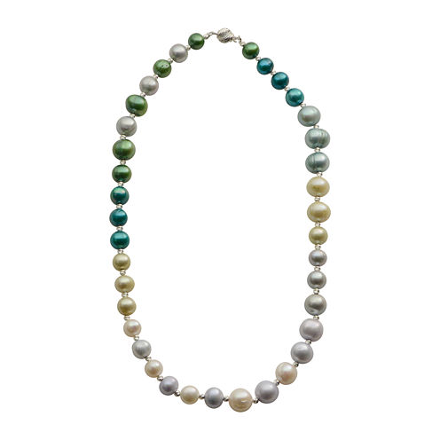 Cultured Freshwater Green & Blue Pearl Sterling Silver Ombré Necklace