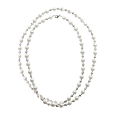 "jcpenney.com | Cultured Freshwater Pearl & Brilliance Bead Sterling Silver 36"" Necklace"