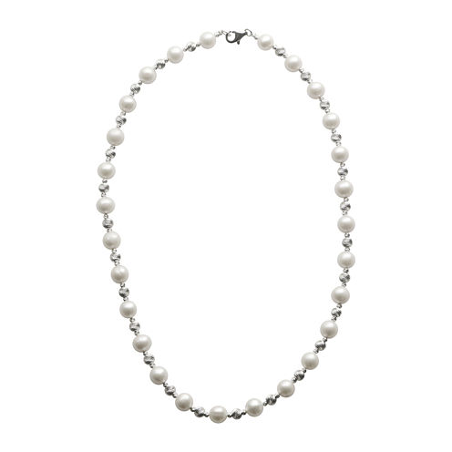 Cultured Freshwater Pearl & Brilliance Bead Sterling Silver Necklace
