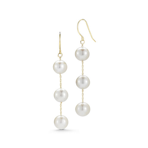 Cultured Freshwater Pearl 10K Yellow Gold Triple-Drop Earrings