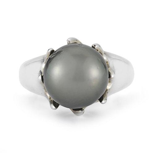 Tahitian Pearl Sterling Silver Ring