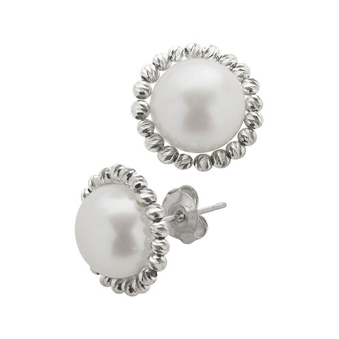 Cultured Freshwater Pearl & Brilliance Bead Sterling Silver Button Earrings