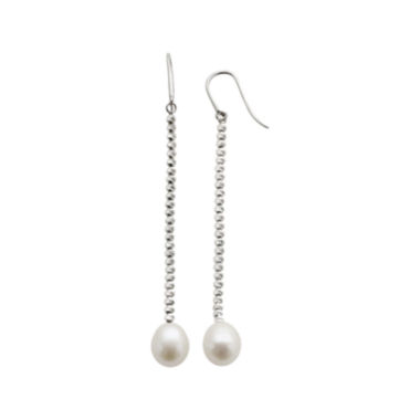 jcpenney.com | Cultured Freshwater Pearl & Brilliance Bead Sterling Silver Drop Earrings