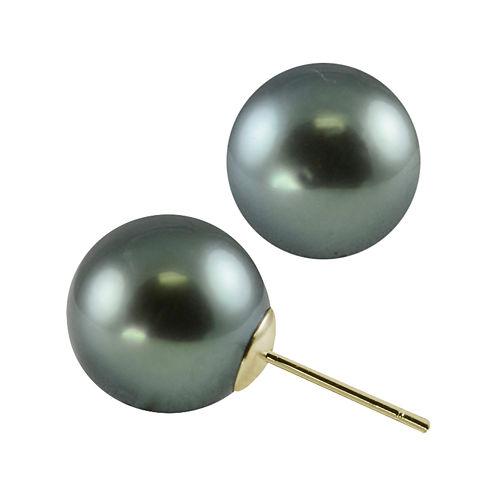 Tahitian Pearl 10-11mm 10K Yellow Gold Stud Earrings