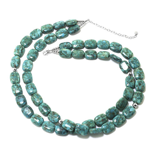 Enhanced Turquoise Double-Row Rectangle Stone Necklace