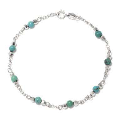 jcpenney.com | Enhanced Turquoise Round Stone Sterling Silver Station Bracelet