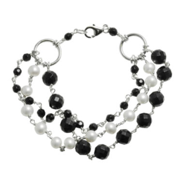jcpenney.com | Cultured Freshwater Pearl & Heat-Treated Onyx Multi-Row Bracelet
