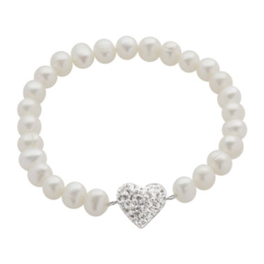 jcpenney.com | Cultured Freshwater Pearl & Crystal Heart Stretch Bracelet
