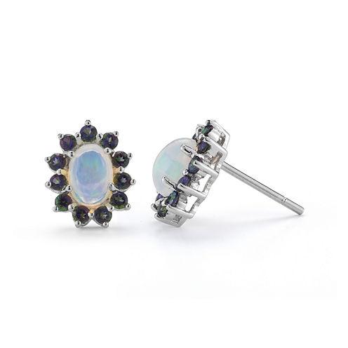 Opal & Mystic Fire Topaz Sterling Silver Stud Earrings