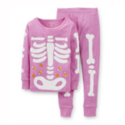 Carter's® 2-pc. Long-Sleeve Glow-in-the-Dark Skeleton Pajama Set – Girls 6m-24m