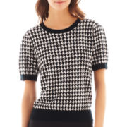 I 'Heart' Ronson® Short-Sleeve Houndstooth Print Sweater Shell