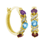 Classic Treasures™ Genuine Amethyst, Sky Blue Topaz and Garnet Hoop Earrings