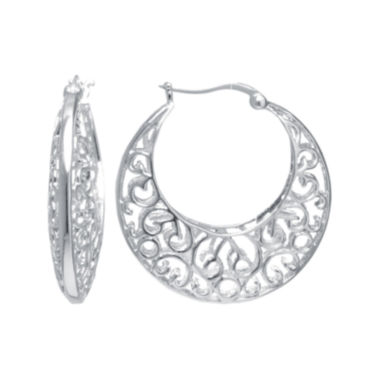jcpenney.com | Silver Reflections™ Silver-Plated Filigree Caged Earrings