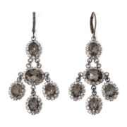 Vieste® Rhinestone Silver-Tone Chandelier Flower Earrings