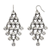 Vieste® Rhinestone Silver-Tone Kite Chandelier Earrings