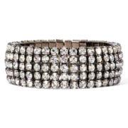 Vieste® Rhinestone 5-Row Silver-Tone Bangle Bracelet