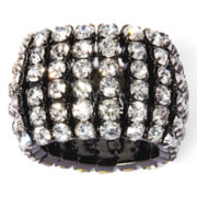 Vieste® Rhinestone 6-Row Silver-Tone Stretch Ring