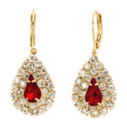 Vieste® Red Stone Teardrop Earrings