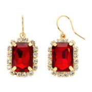 Vieste® Red Stone Square Drop Earrings