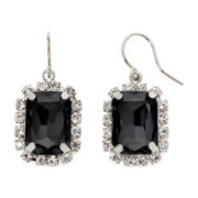 Vieste® Jet Stone Square Drop Earrings