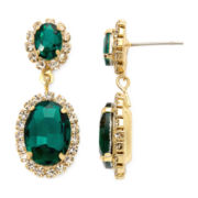 Vieste® Green Stone Double Drop Earrings