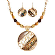Mixit™ Abalone Round Earring and Necklace Set