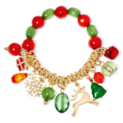 Green and Red Stone Christmas Charms Stretch Bracelet