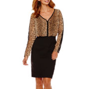 nicole by Nicole Miller® Long-Sleeve Animal Print Blouson Dress