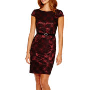 Alyx® Cap-Sleeve Lace Sheath Dress