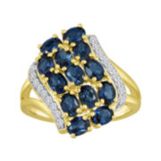 Lab-Created Blue and White Sapphire 14K Yellow Gold Over Sterling Silver Waterfall Ring