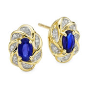 Genuine Blue Sapphire and Diamond-Accent Flower 10K Yellow Gold Stud Earrings