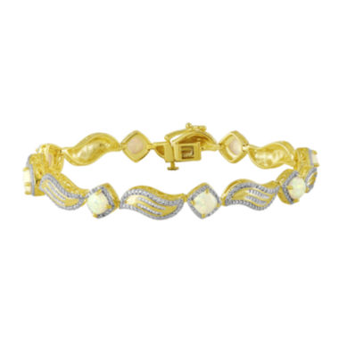 jcpenney.com | Diamond-Accent and Lab-Created Opal 14K Yellow Gold Over Sterling Silver Bracelet